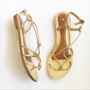 Anthro Leifsdottir Ulla Gold Leather Sandals